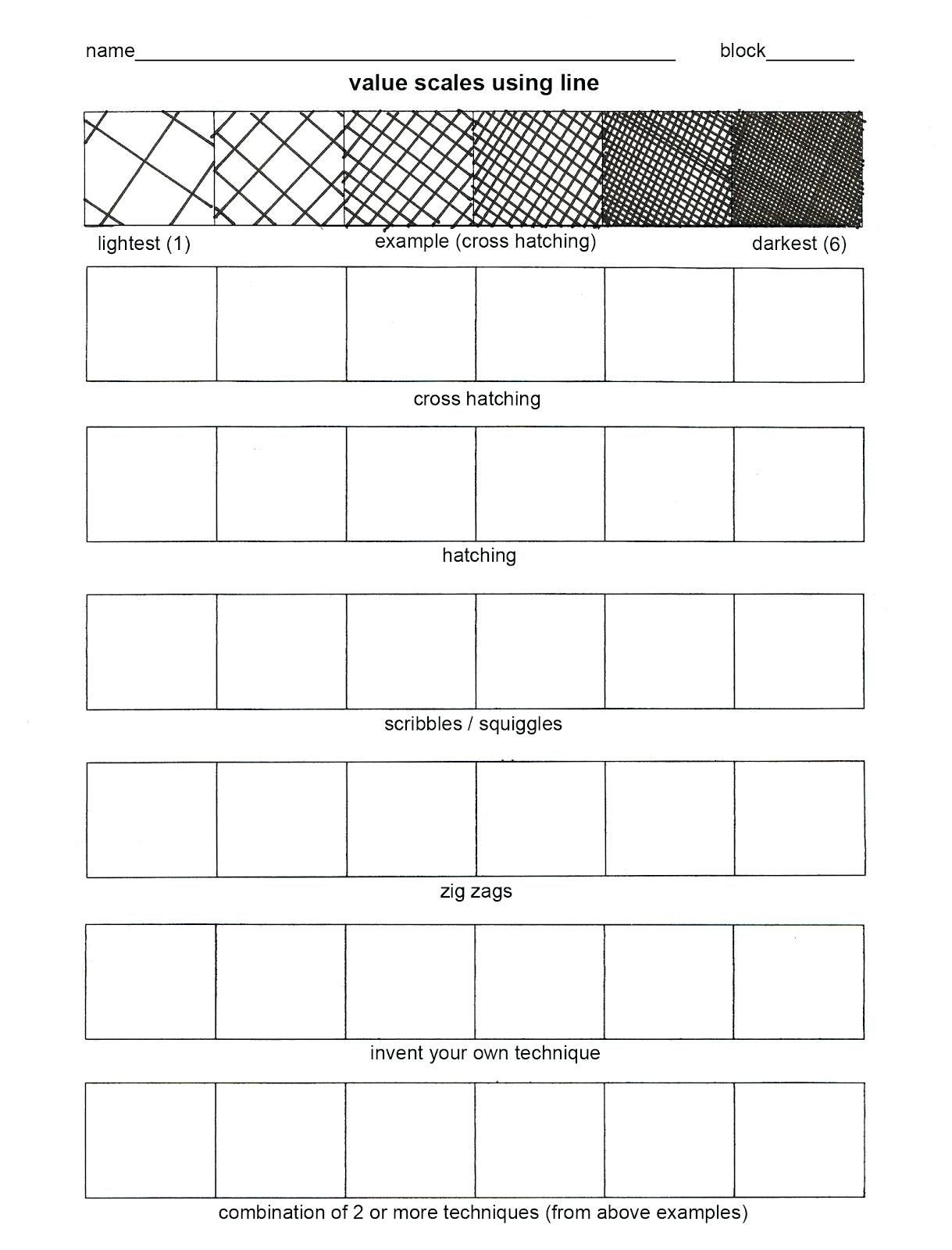 Middle School Art Worksheets Worksheet Art Worksheets for Elementary Teaching A Value