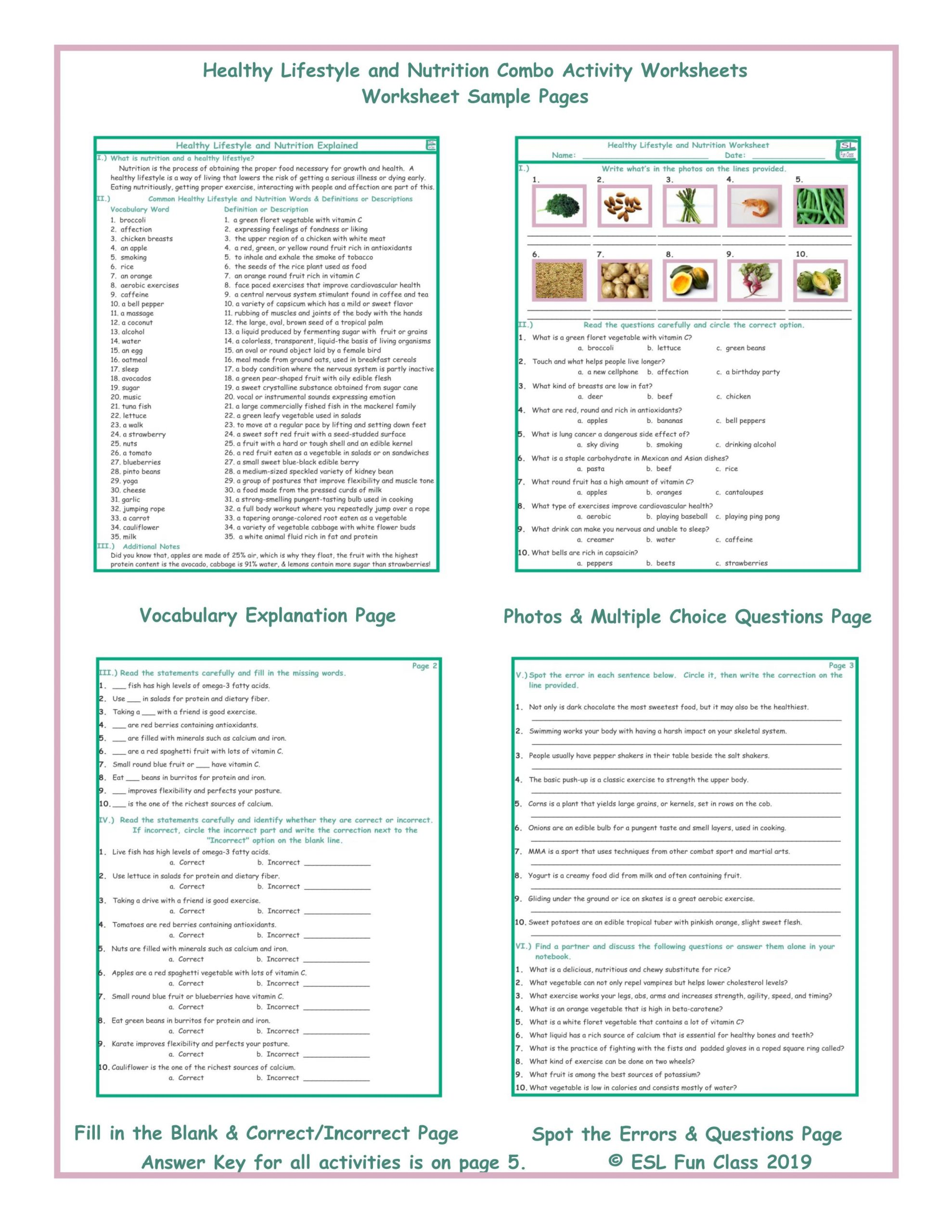 Middle School Health Worksheets Healthy Lifestyle and Nutrition Bo Activity Worksheets