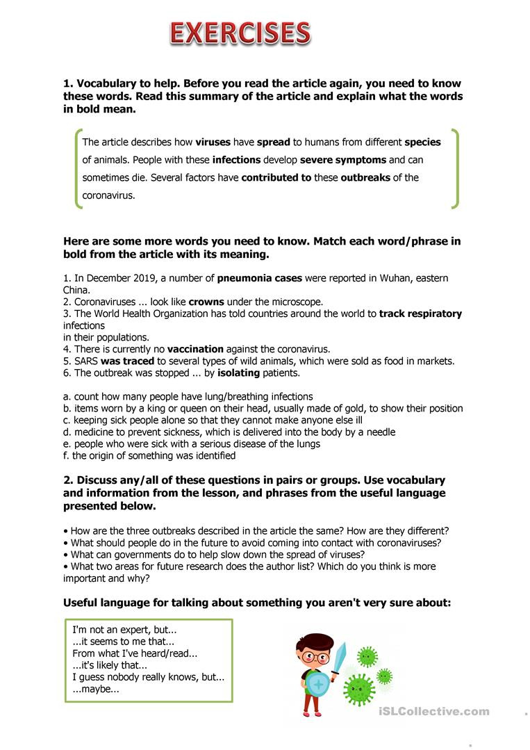 Middle School Health Worksheets Pdf Coronavirus English Esl Worksheets for Distance Learning