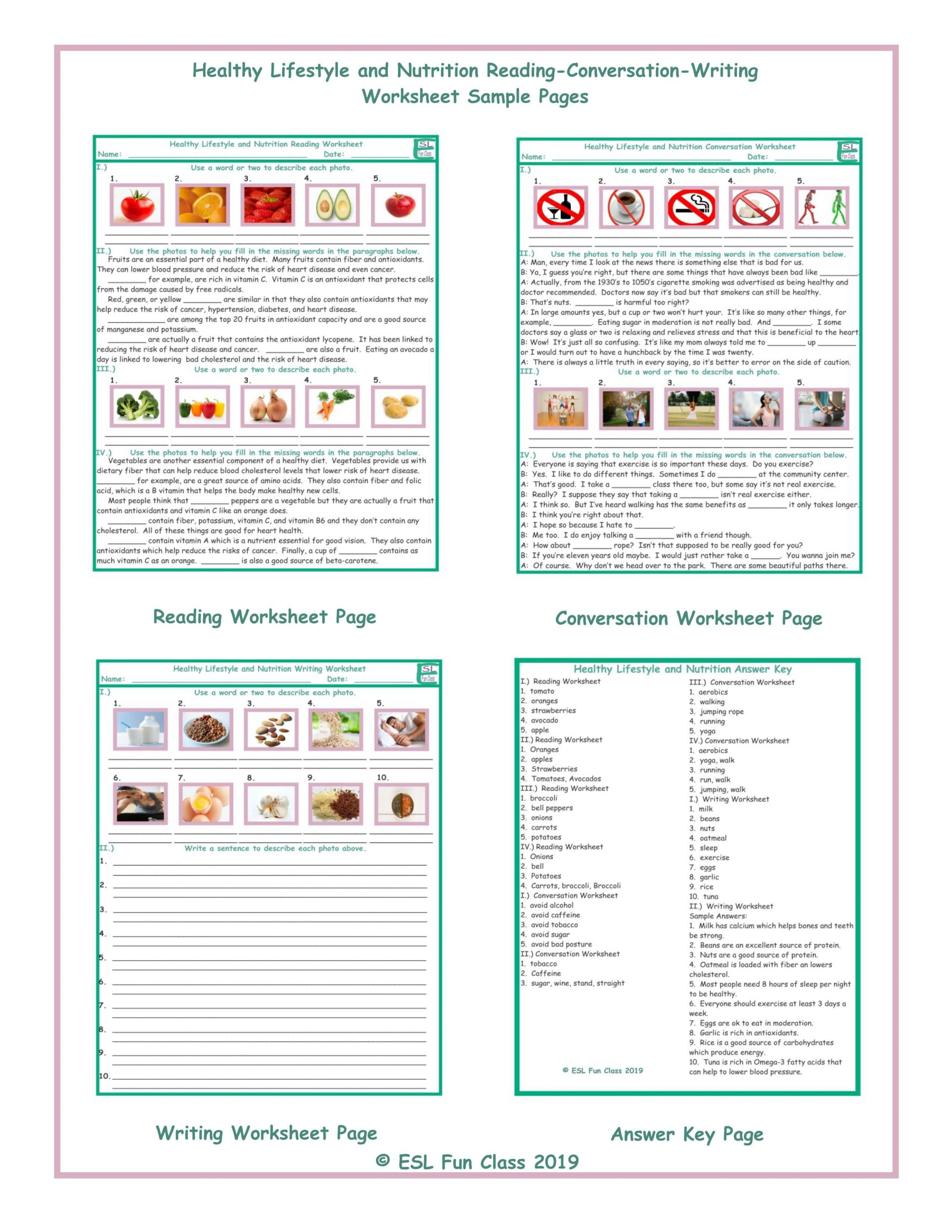 Middle School Health Worksheets Pdf Healthy Lifestyle Nutrition Reading Conversation Writing Worksheets
