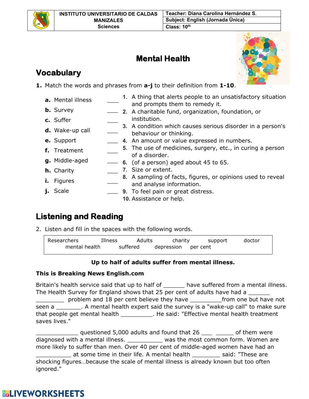 Middle School Health Worksheets Pdf Mental Health Interactive Worksheet