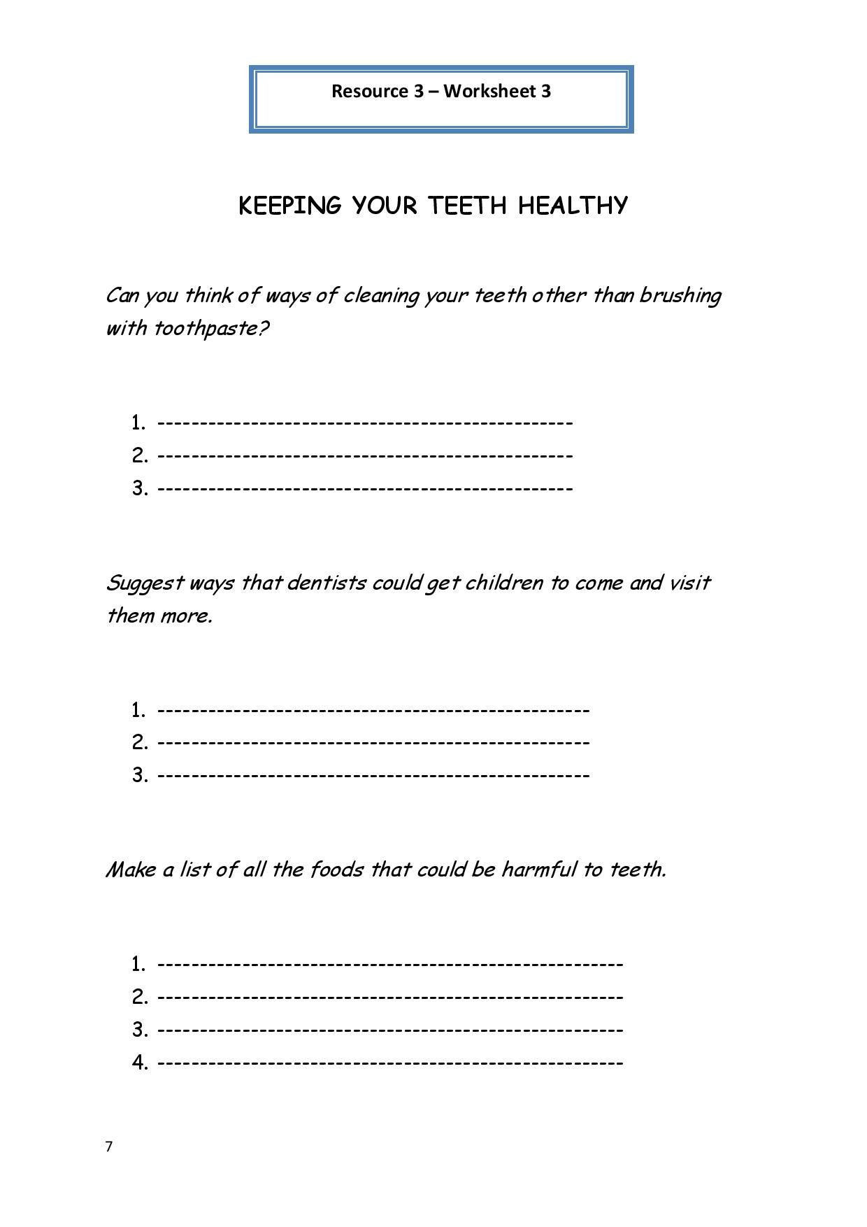 Middle School Health Worksheets Pdf Personal Hygiene Worksheet 3 Keeping Your Teeth Healthy