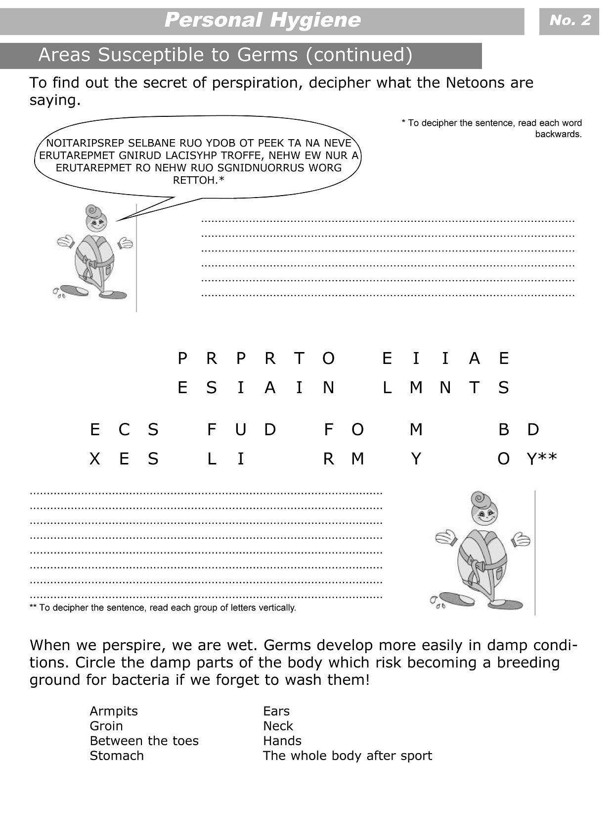 Middle School Health Worksheets Personal Hygiene Worksheets for Kids Level 3 2