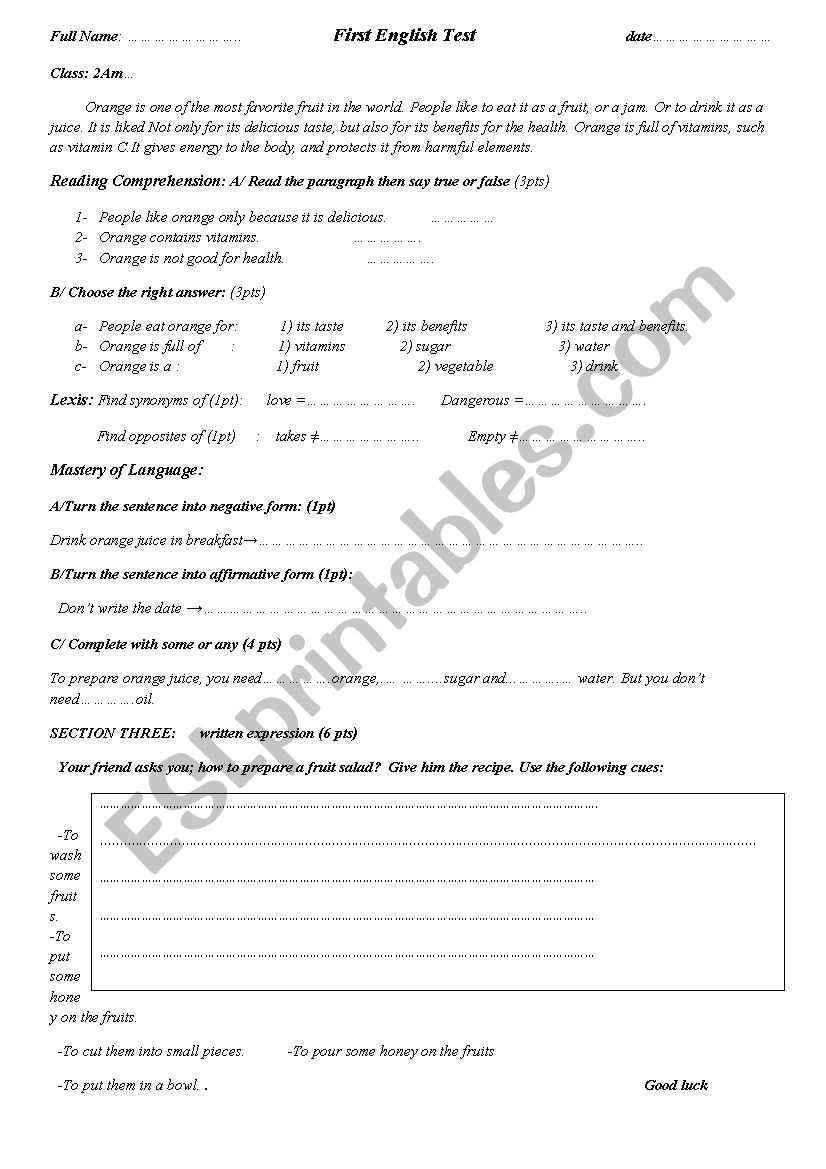 Middle School Health Worksheets Test About orange Fruit for 2nd Year Middle School Students
