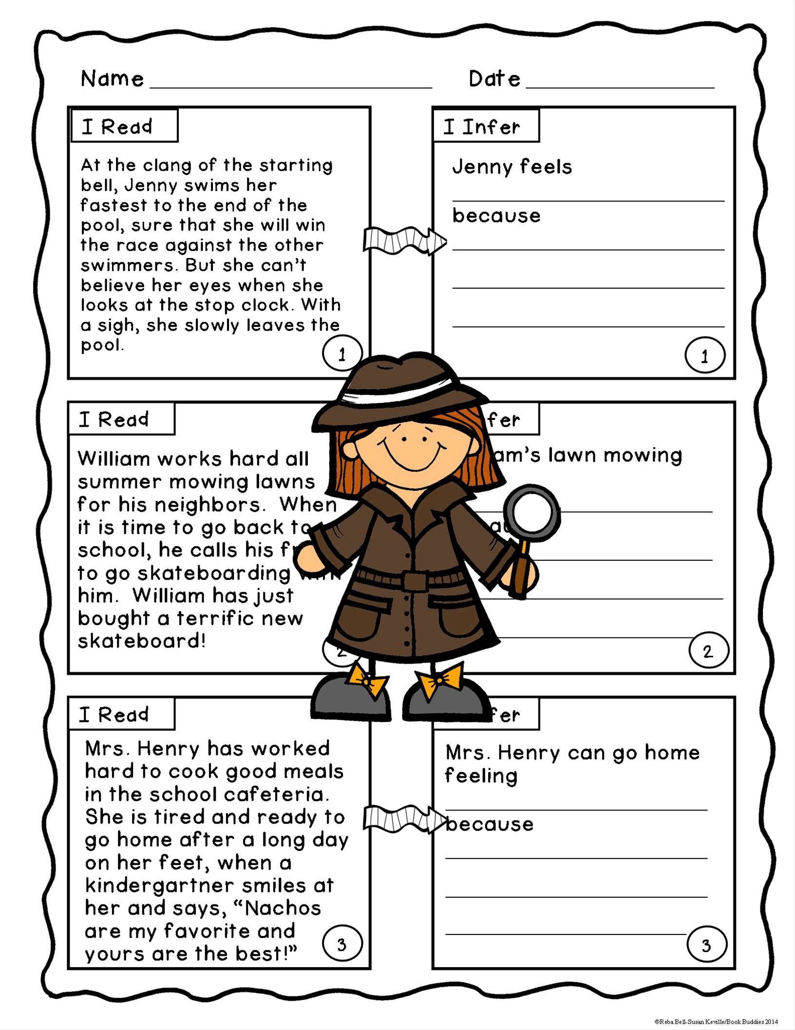 Middle School Inference Worksheets Inference Fiction Passages and Activities