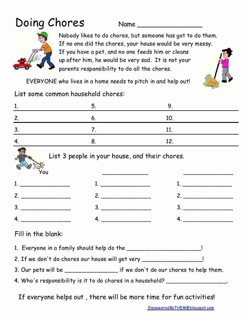 Middle School Life Skills Worksheets Chores