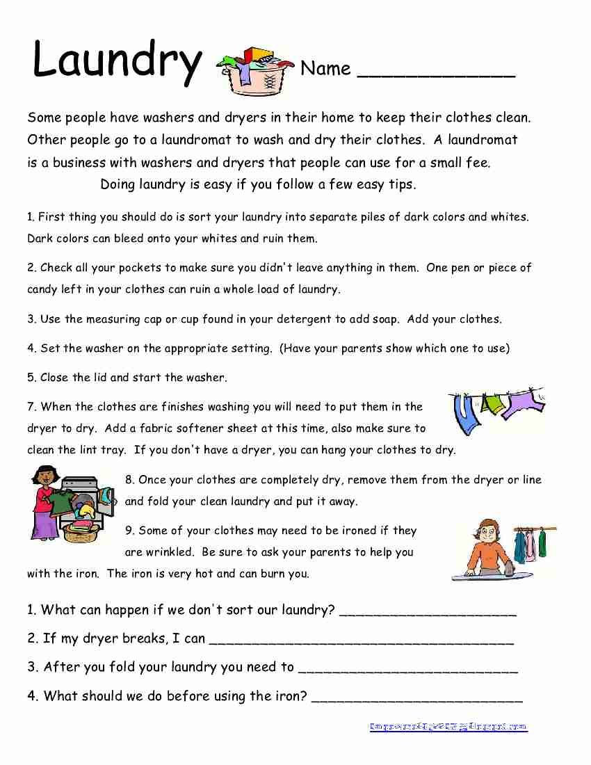 Middle School Life Skills Worksheets Laundry