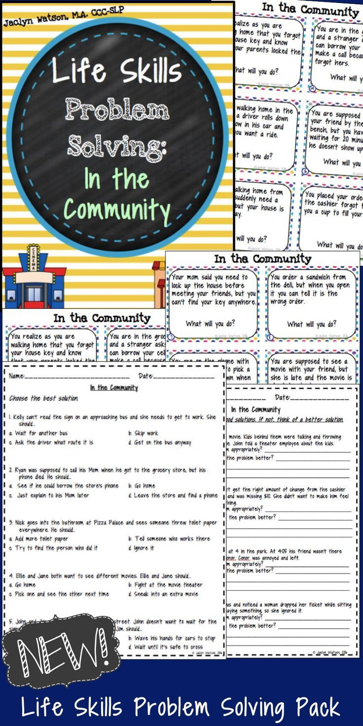 Middle School Life Skills Worksheets Life Skills Problem solving In the Munity