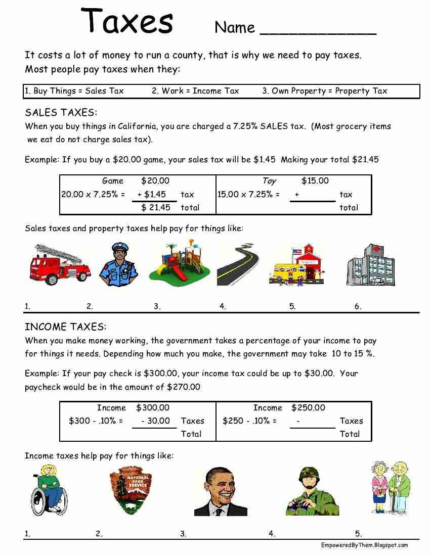 Middle School Life Skills Worksheets Taxes Worksheet Idea