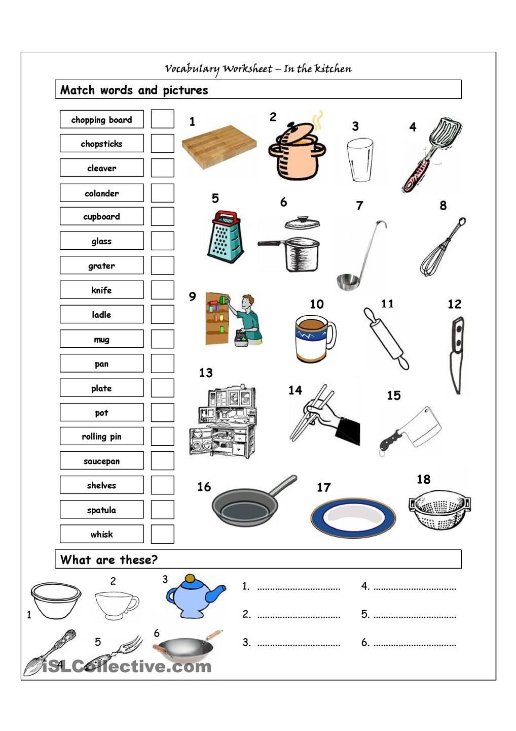 Middle School Life Skills Worksheets Vocabulary Matching Worksheet In the Kitchen