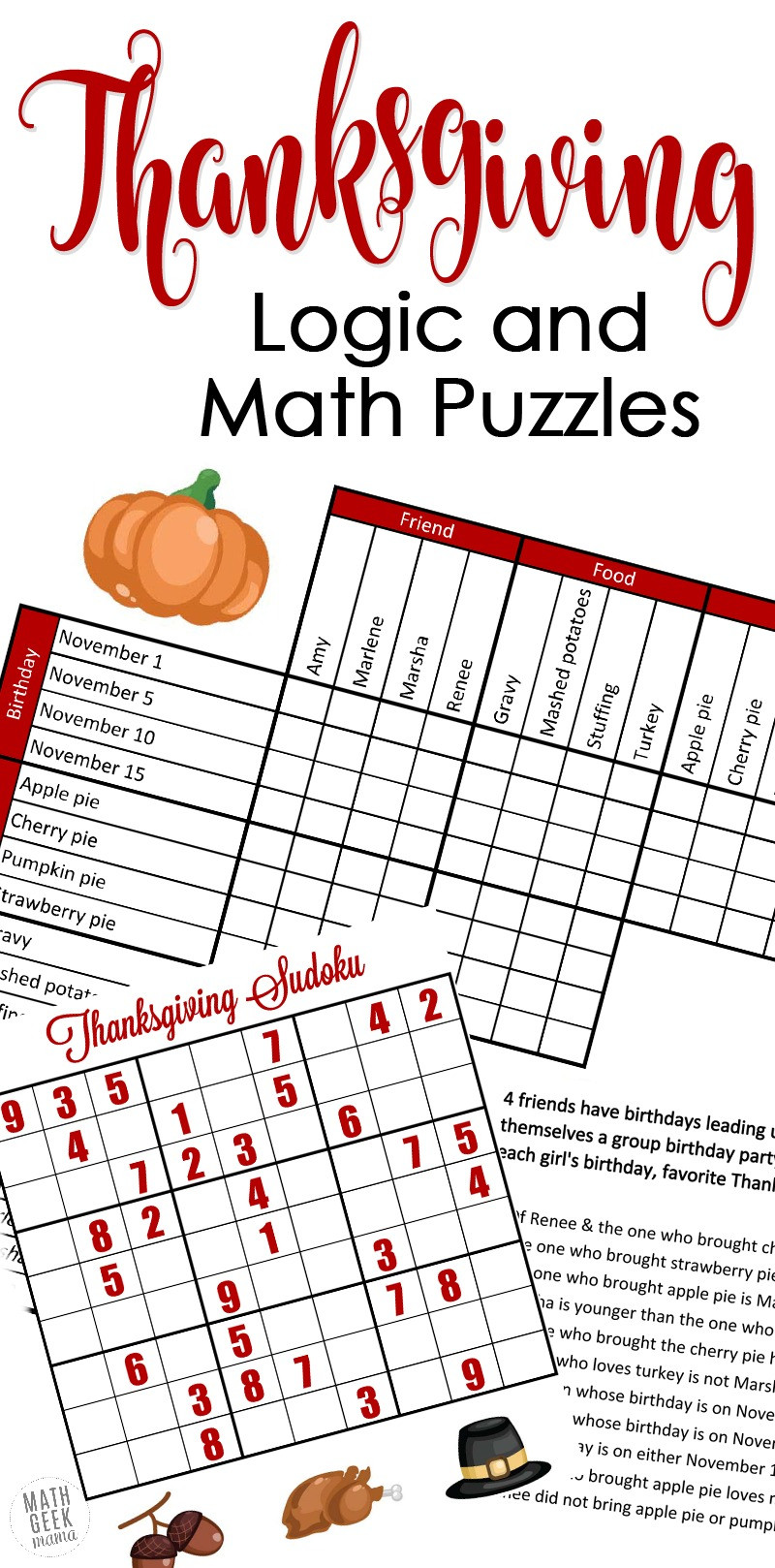 Middle School Math Puzzles Printable Free Fun Thanksgiving Math Puzzles for Older Kids