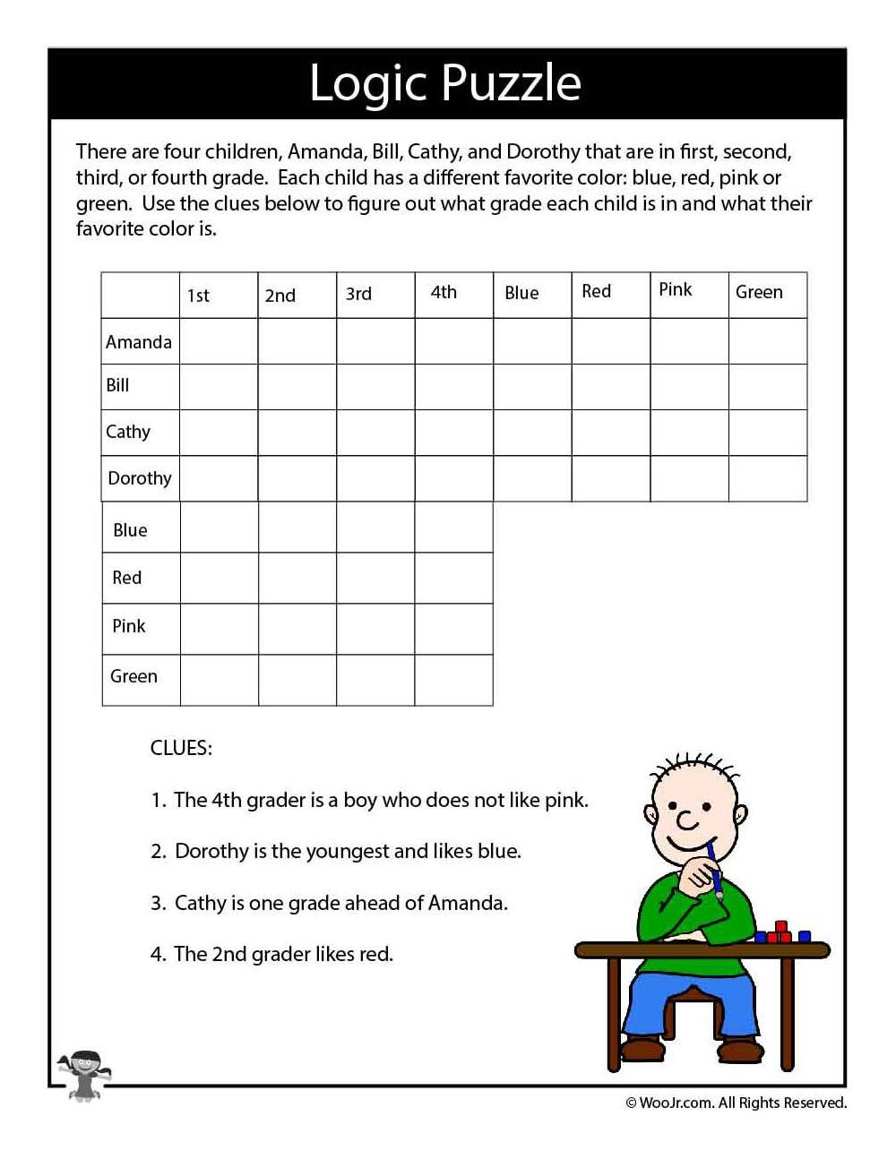 Middle School Math Puzzles Printable Hard Logic Puzzle for Kids Woo Jr Kids Activities