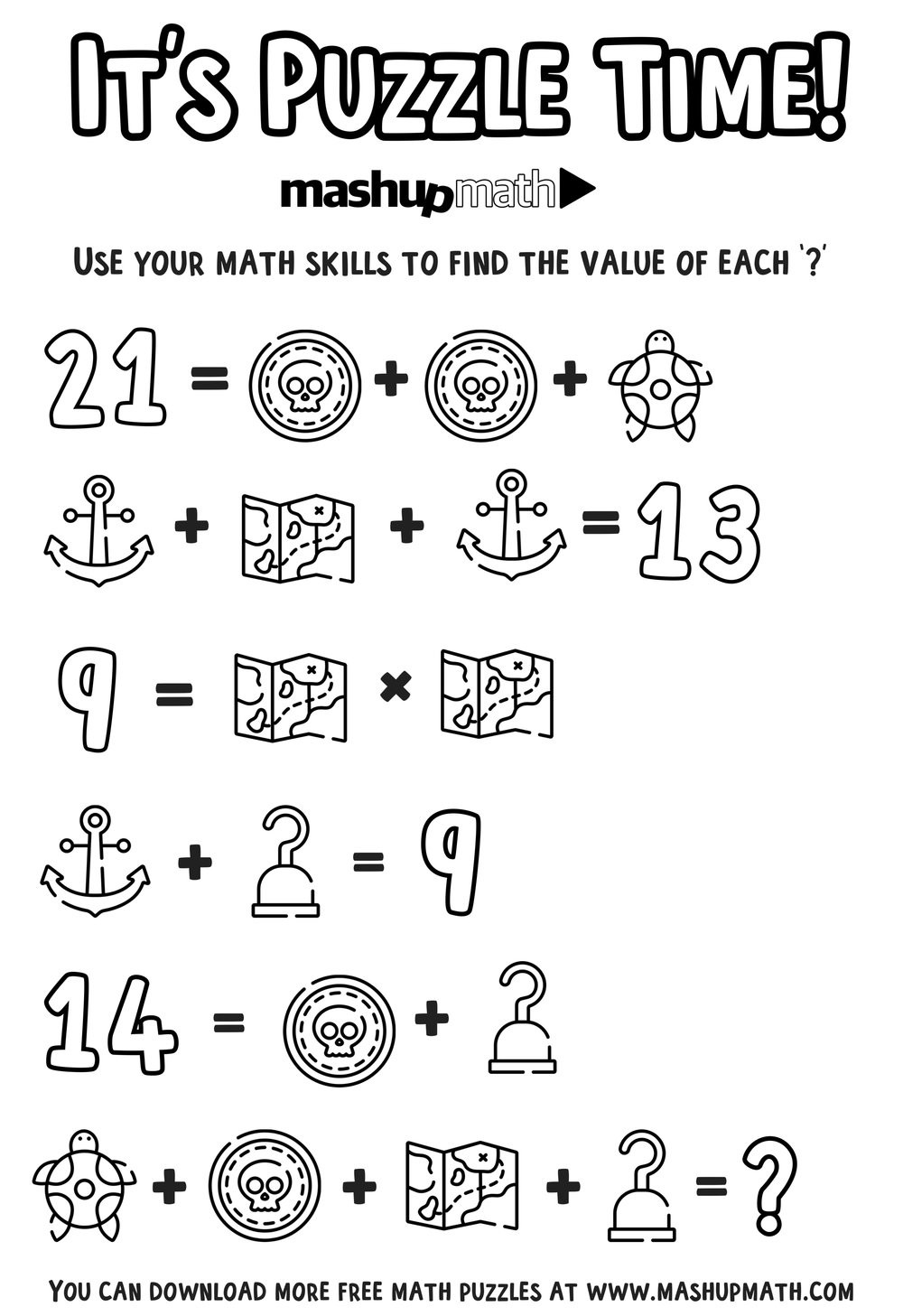 Middle School Math Puzzles Printable Worksheet Piratemath Printable Math Coloring Puzzles Free