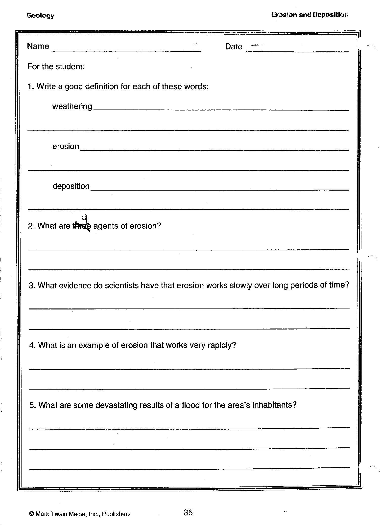 Middle School Science Worksheets Pdf Erosion and Deposition Definitions 001 1536—2128