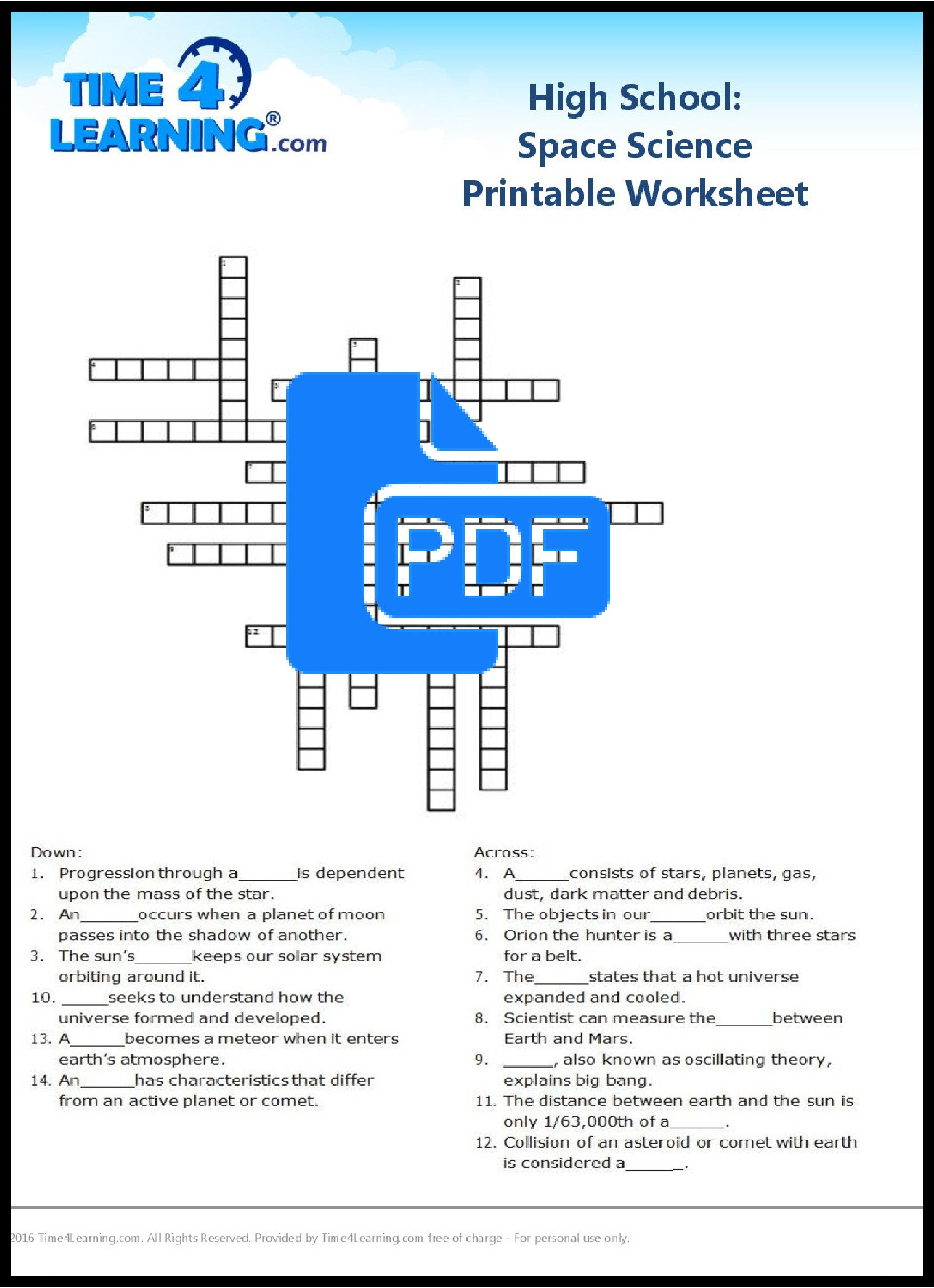Middle School Science Worksheets Pdf Free Printable High School Space Science Worksheet