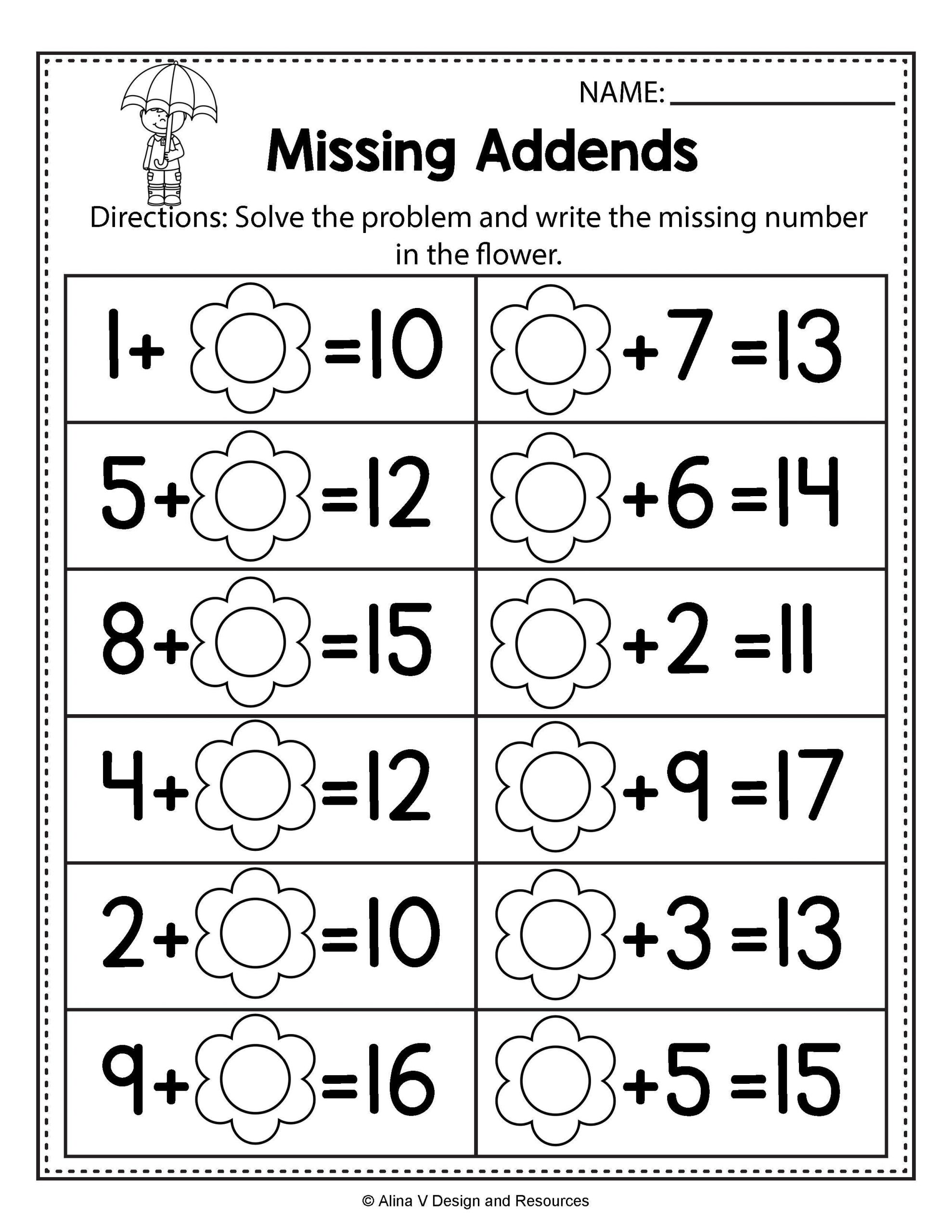 Free Missing Addend Worksheets 1st Grade Free