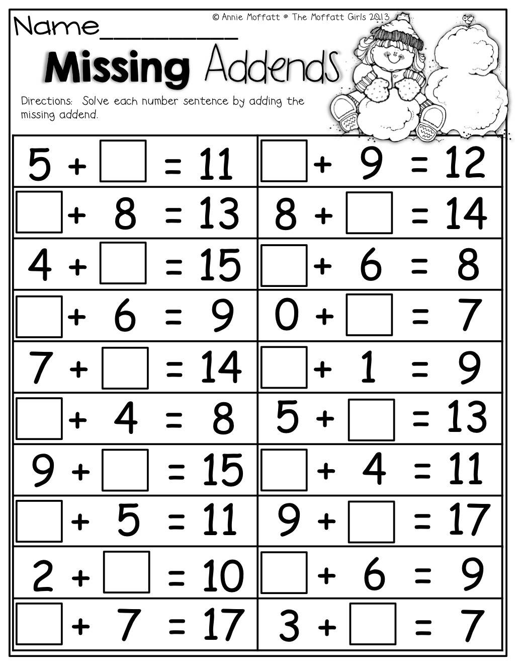 Missing Addend Worksheets 1st Grade Math Worksheets with Missing Addends