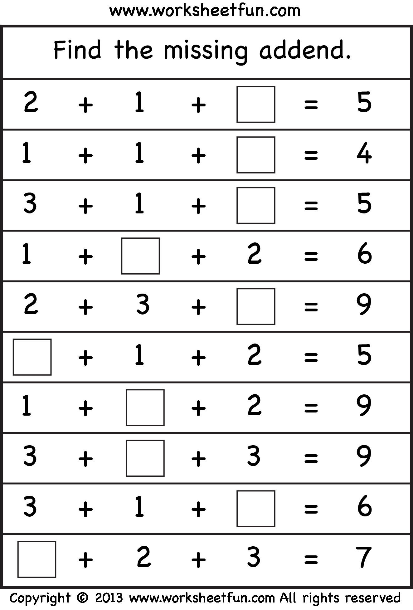 Missing Addend Worksheets 1st Grade Missing Addend Kids Math Pinterest