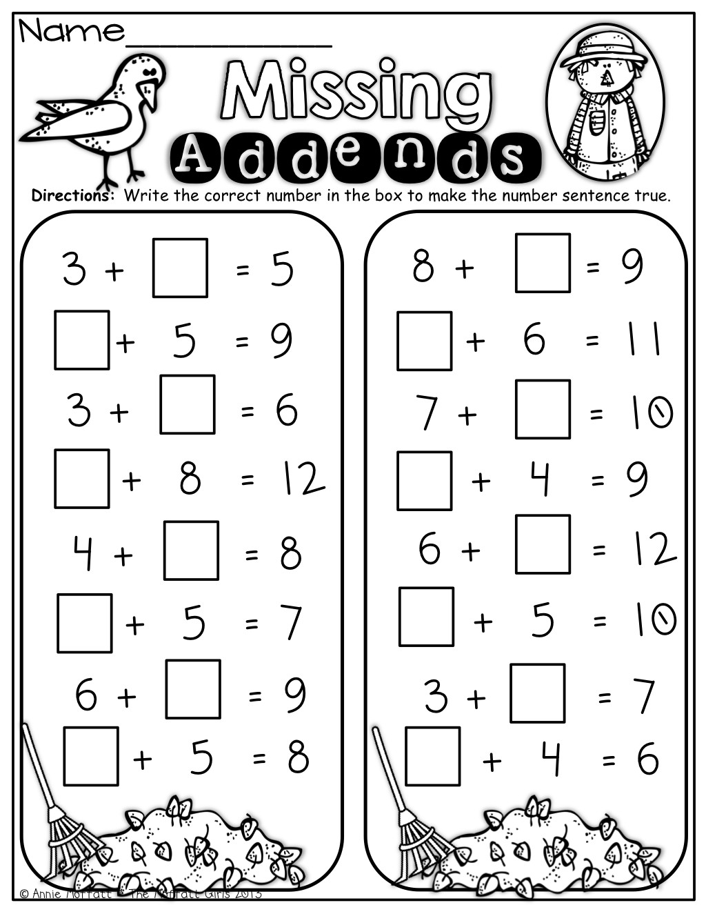 Missing Addends Worksheets First Grade Math Missing Addend Worksheet