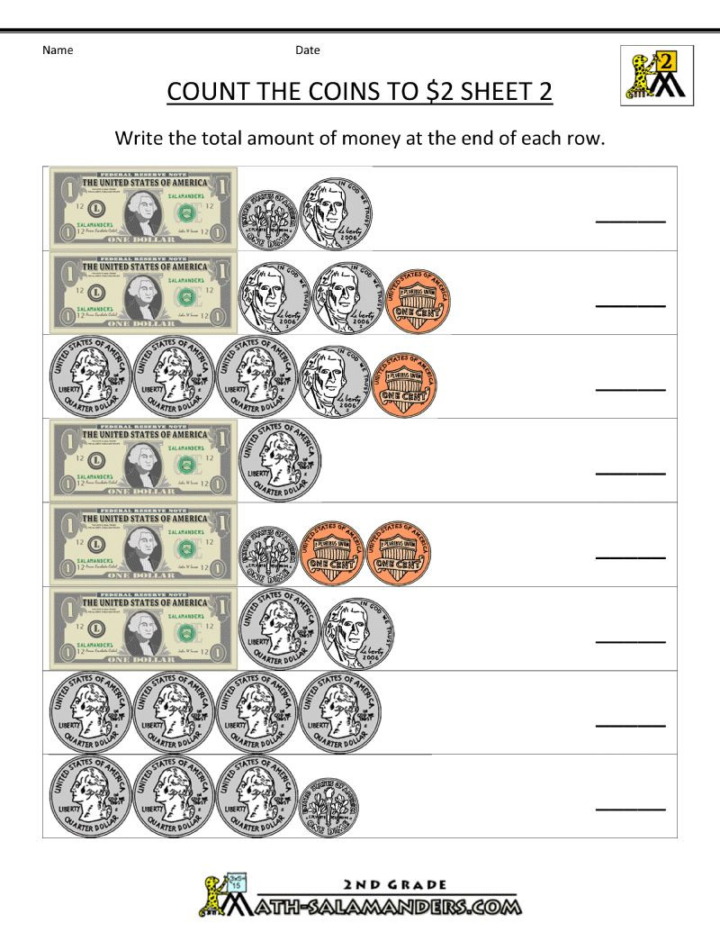 Money Worksheets for 3rd Grade Second Math