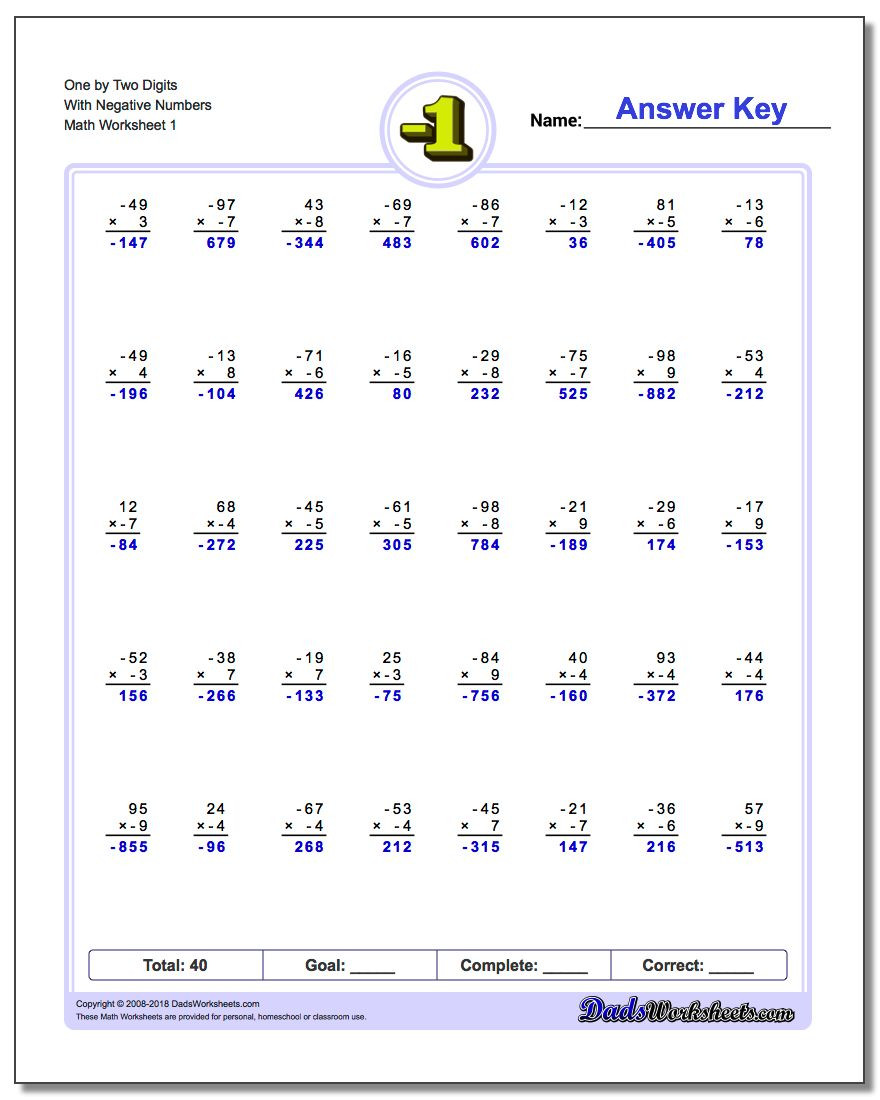 Multiplying Fractions Worksheet 6th Grade Negative Numbers