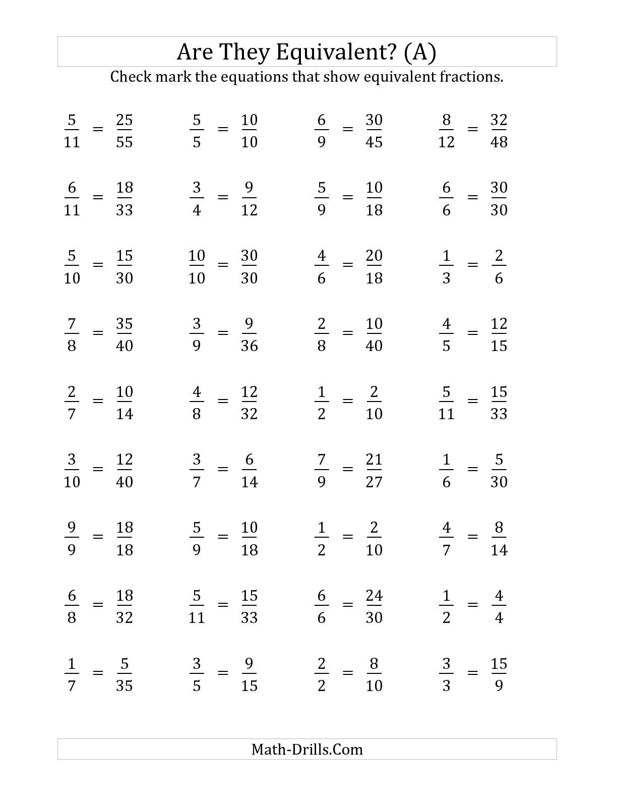 Multiplying Fractions Worksheet 6th Grade the are these Fractions Equivalent Multiplier Range 2 to 5