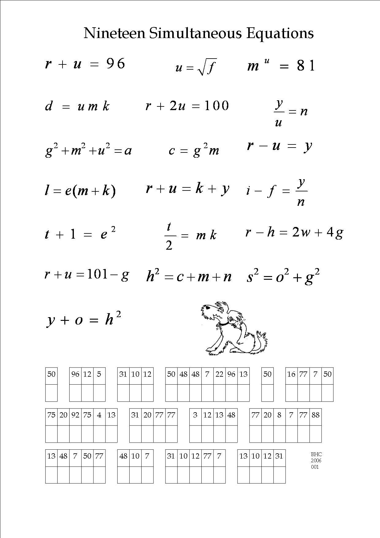 Native American Math Worksheets An Algebra Puzzle