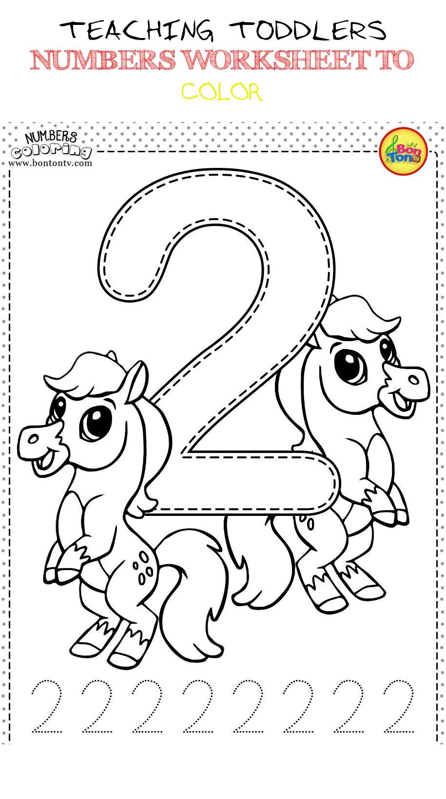 Number 2 Worksheets for Preschool Teaching toddlers Numbers Worksheet to Color 2 Teaching