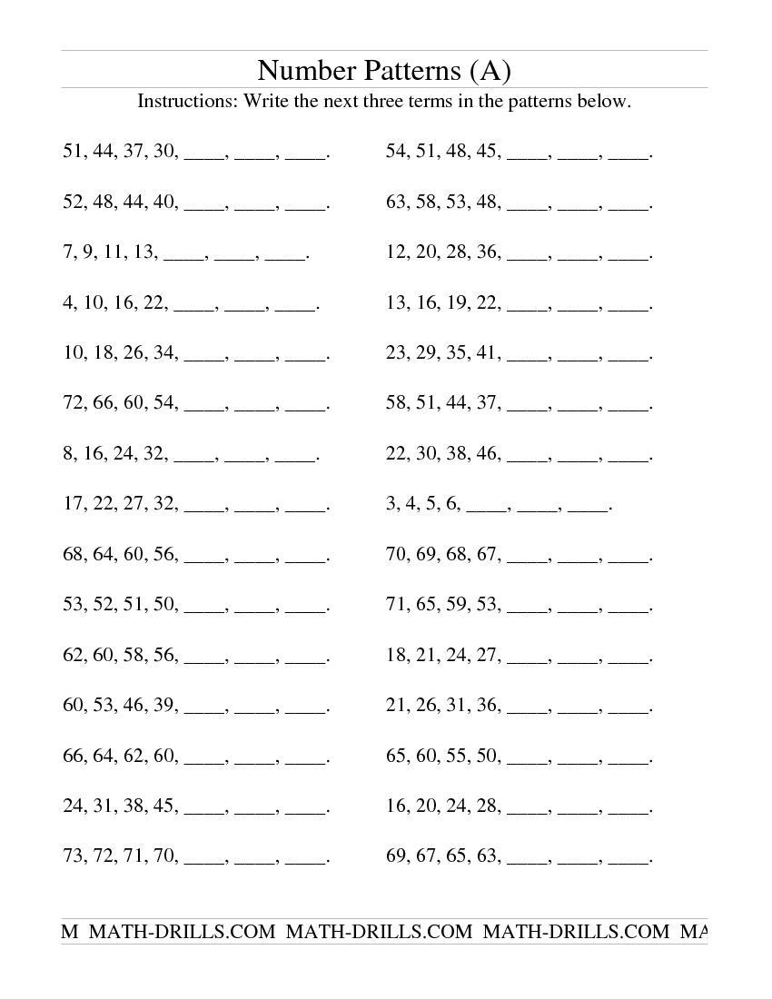 Number Pattern Worksheets 5th Grade Growing and Shrinking Number Patterns A Patterning