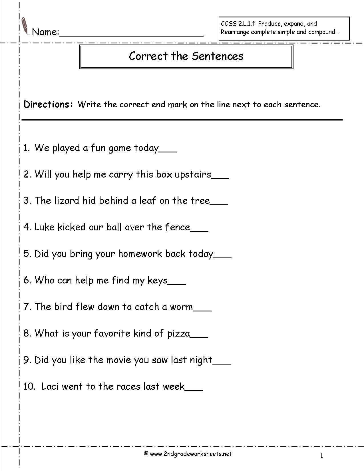 Number Sentence Worksheets 2nd Grade Free Second Grade Worksheets