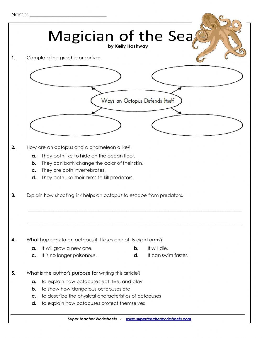 Ocean Floor Worksheets 5th Grade Magician Of the Sea Interactive Worksheet