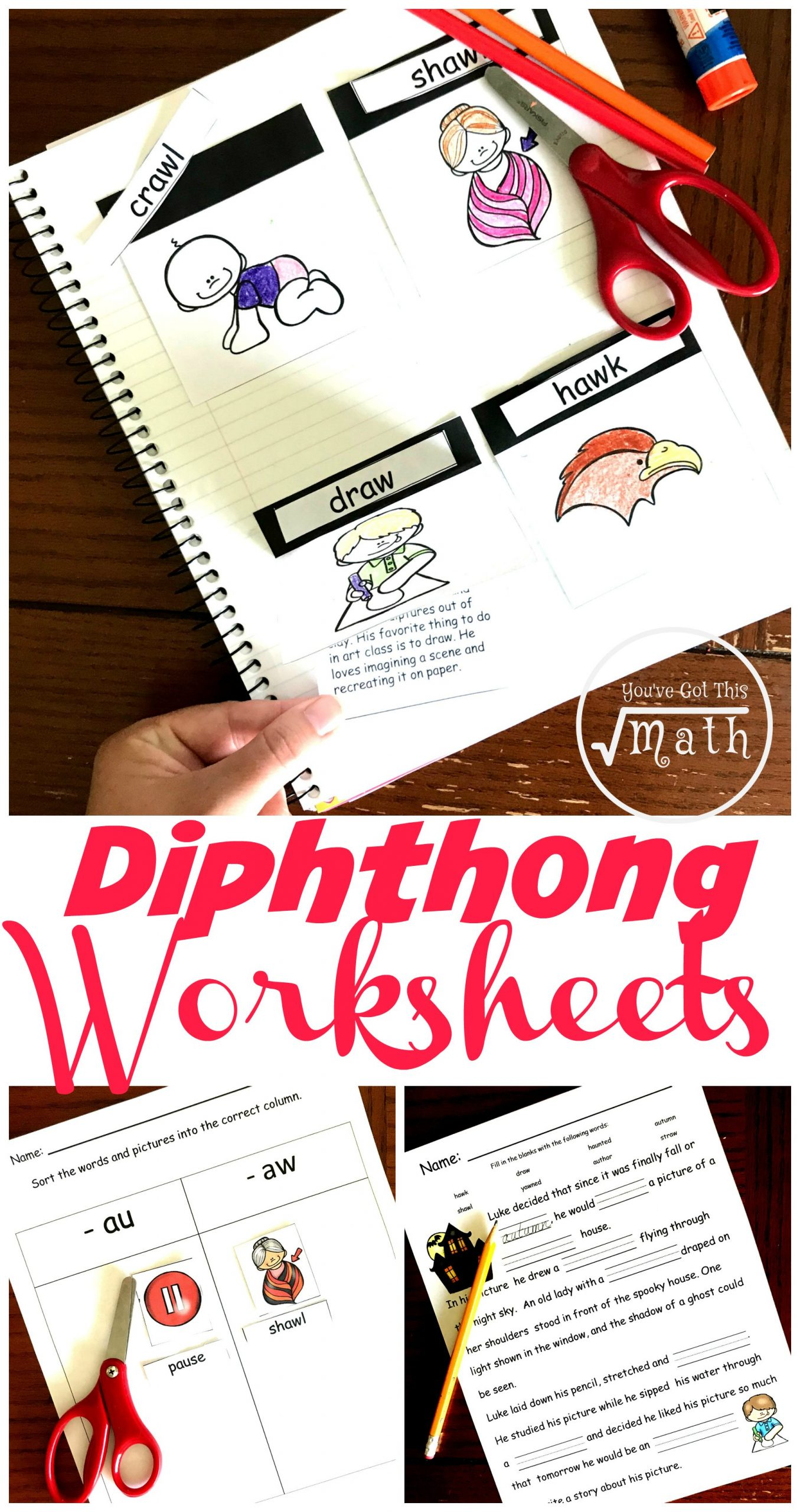 "Ou Ow Worksheets 3rd Grade Free Hands Diphthongs Worksheet for ""au"" and ""aw"""
