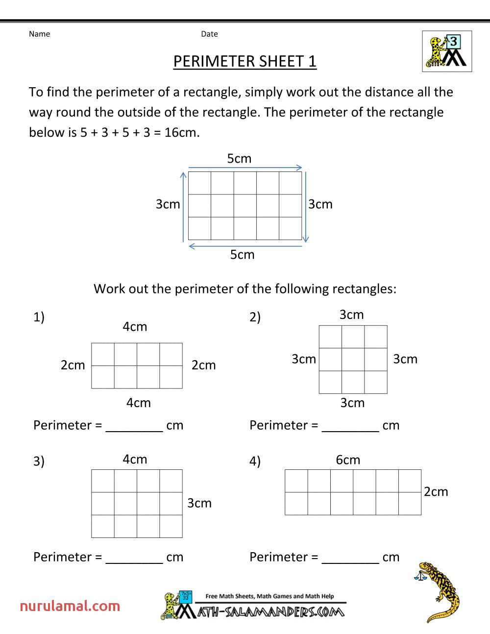Perimeter Worksheets 3rd Grade Free 3rd Grade Math Worksheets Perimeter 1 In 2020