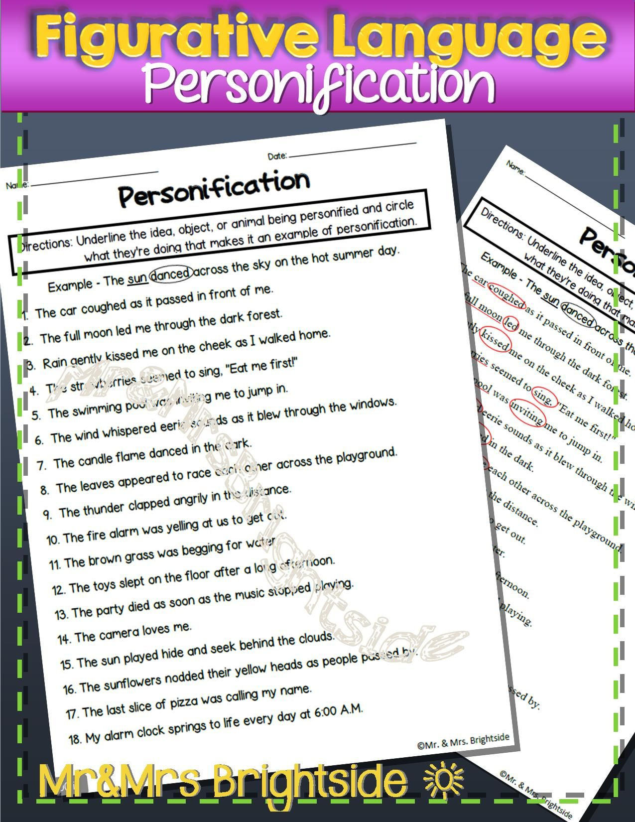 Personification Worksheets 6th Grade Figurative Language Personification Worksheet