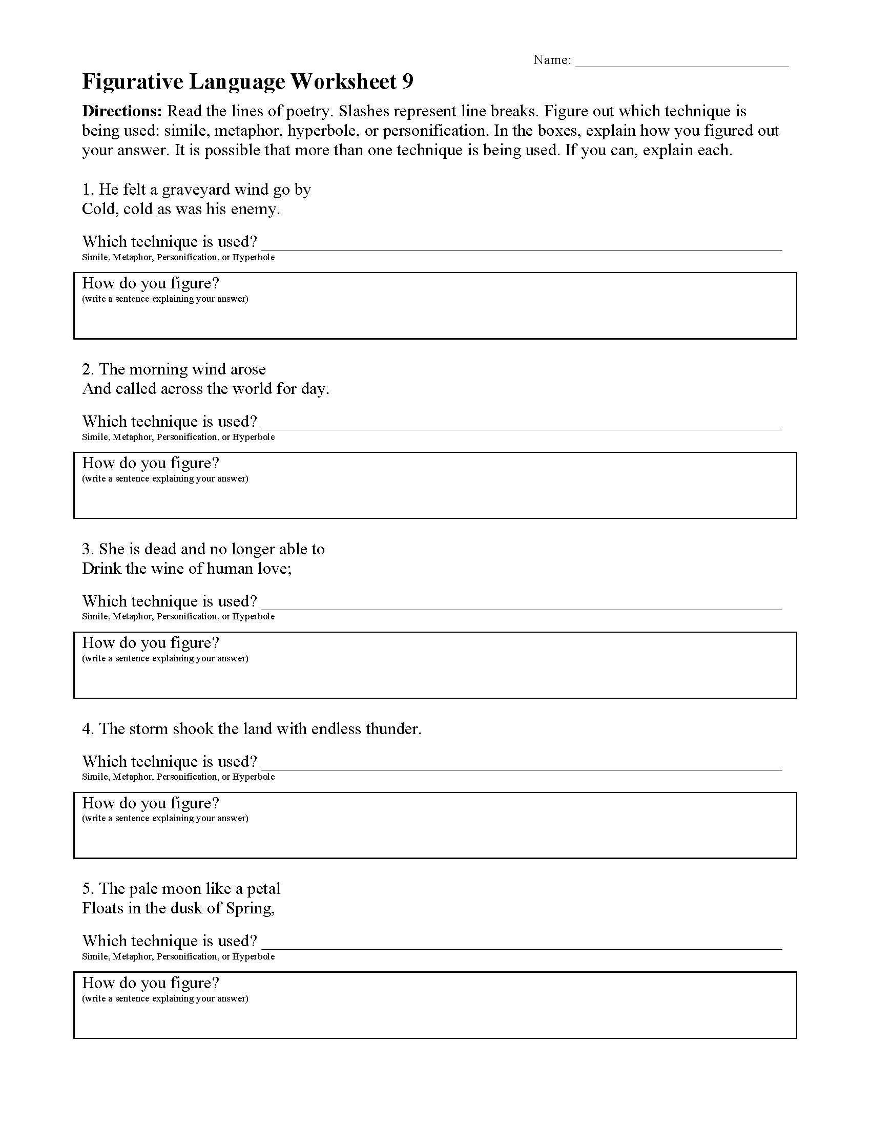 Personification Worksheets 6th Grade Figurative Language Worksheets