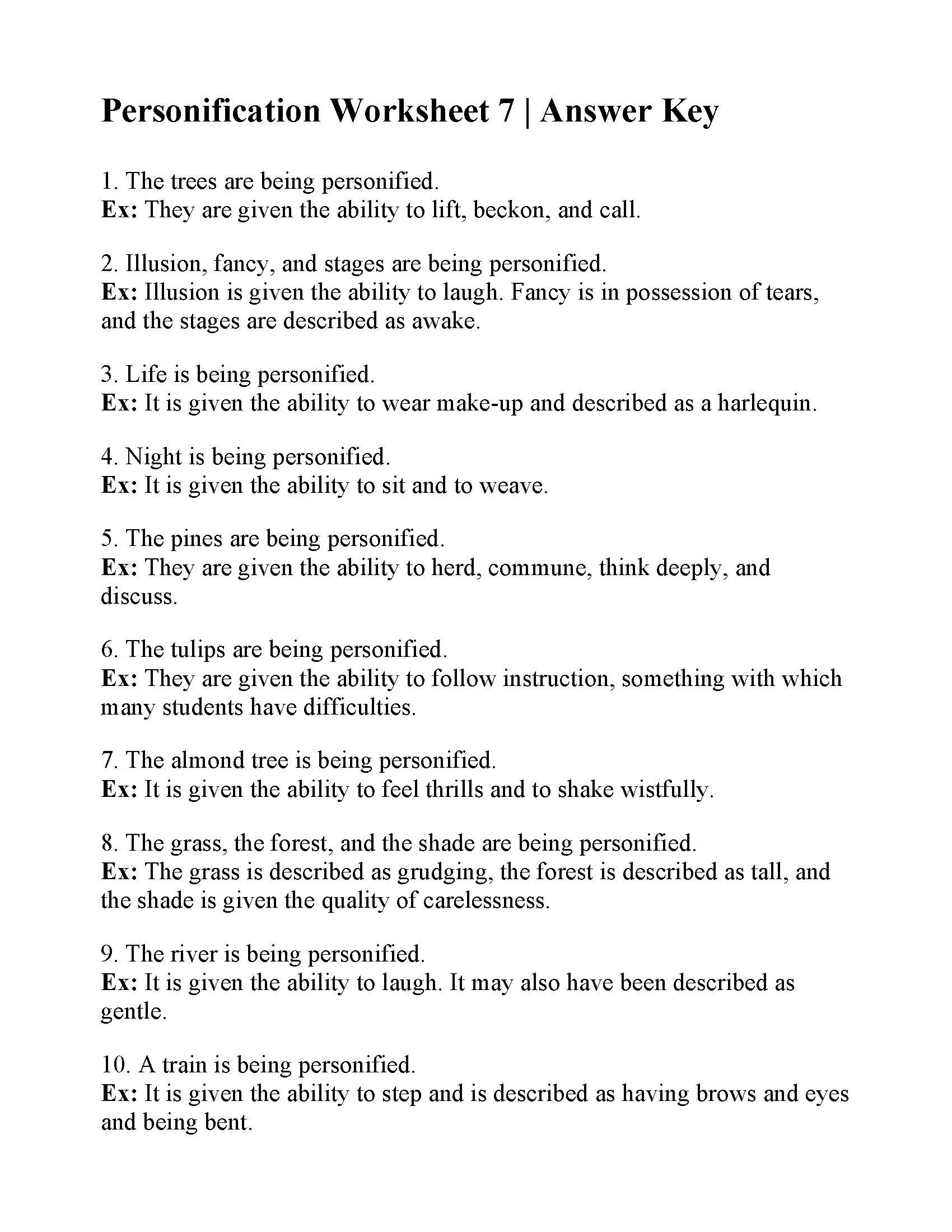 Personification Worksheets 6th Grade Personification Worksheet Answers Worksheets Chapter Test