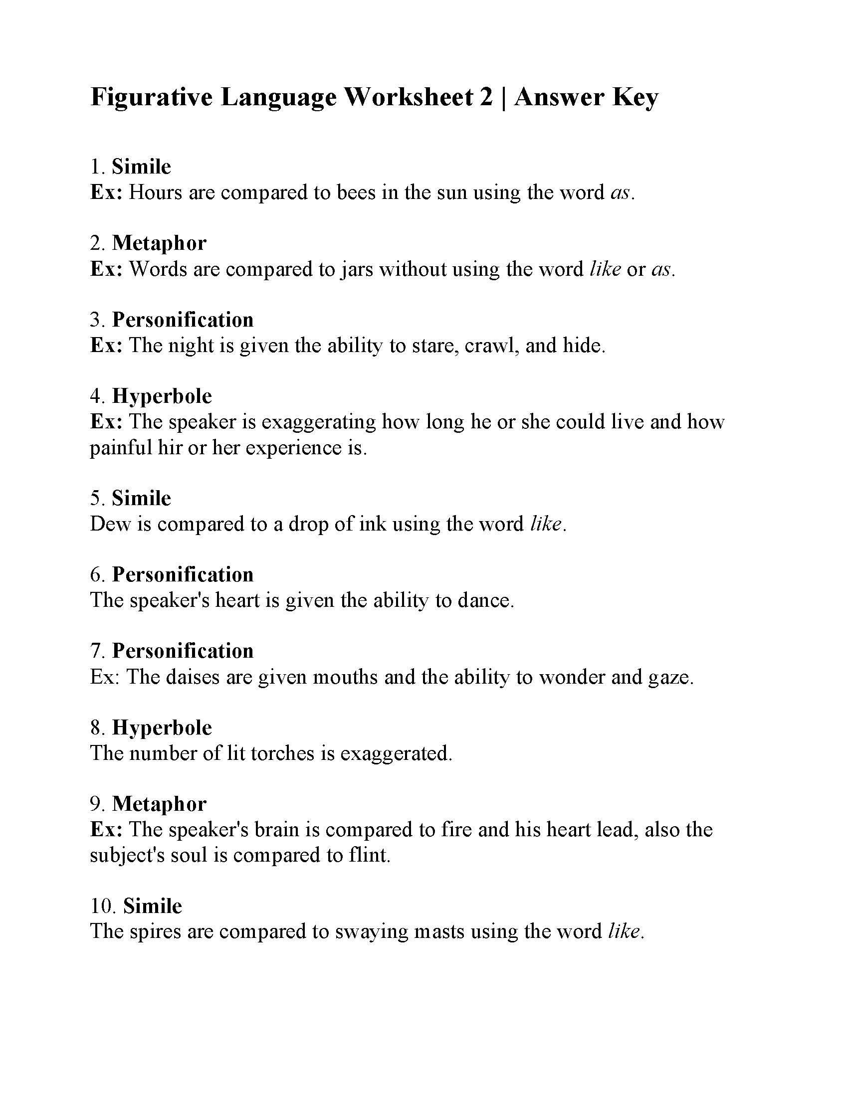 Personification Worksheets 6th Grade This is the Answer Key for the Figurative Language Worksheet