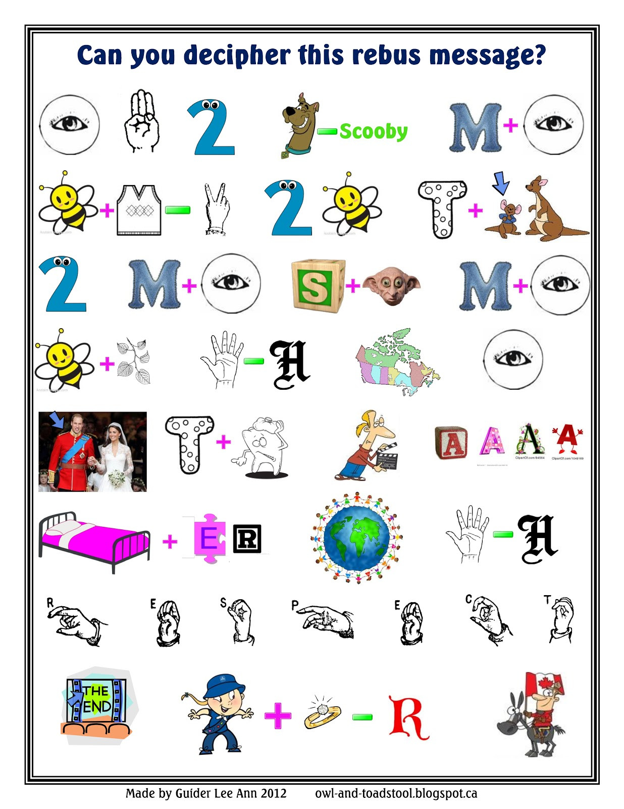 Pictogram Puzzles Printable Rebus Puzzles Worksheets