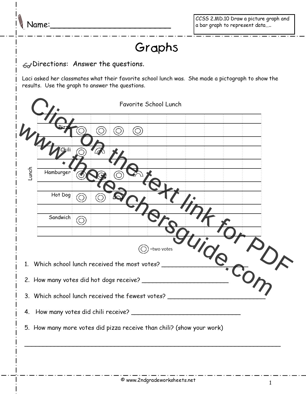 Pictograph Worksheets 2nd Grade Pictograph Worksheet with Questions