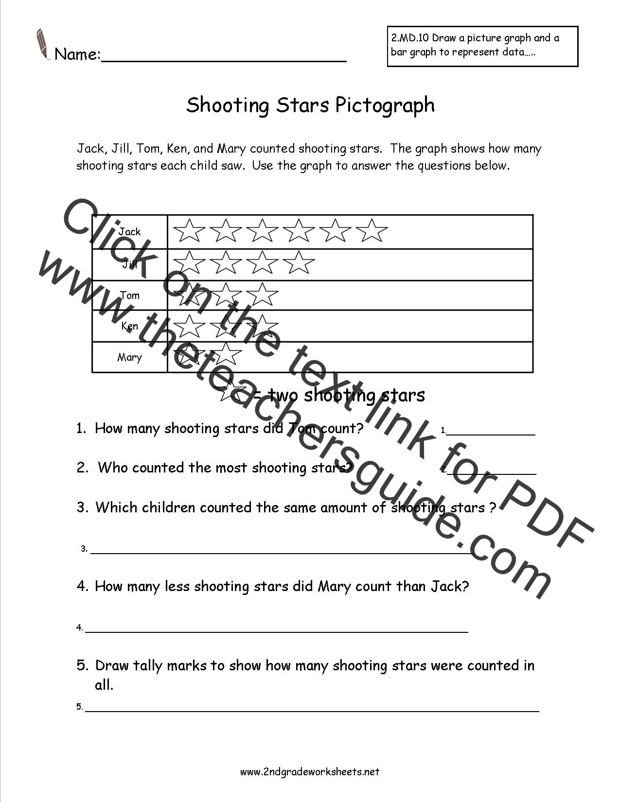 Pictograph Worksheets 2nd Grade Second Grade Reading and Creating Pictograph Worksheets