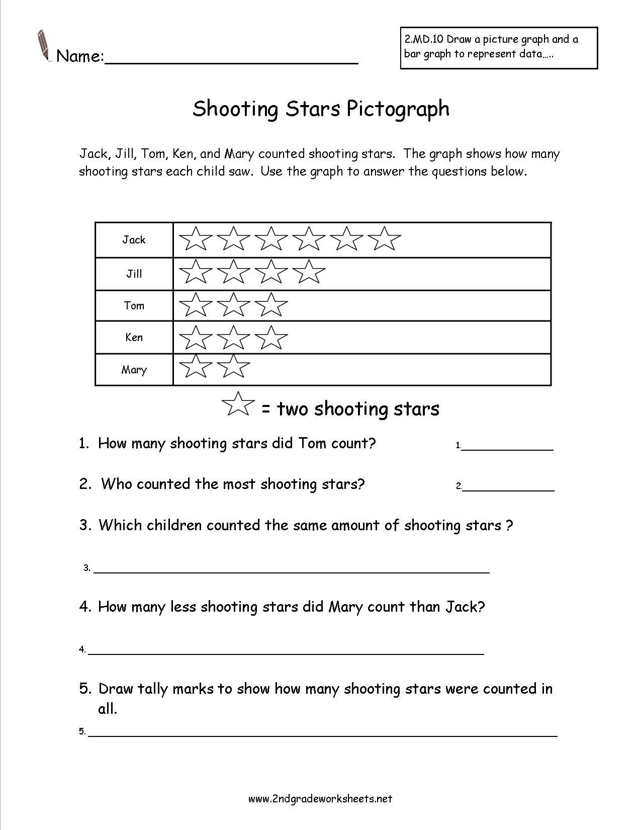 Plot Worksheets 2nd Grade Shooting Stars Pictograph Worksheet