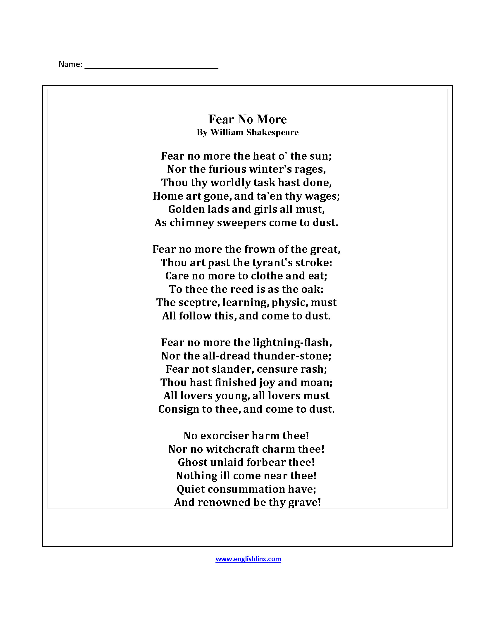 Poetry Worksheets Middle School Poetry Worksheets for Adults