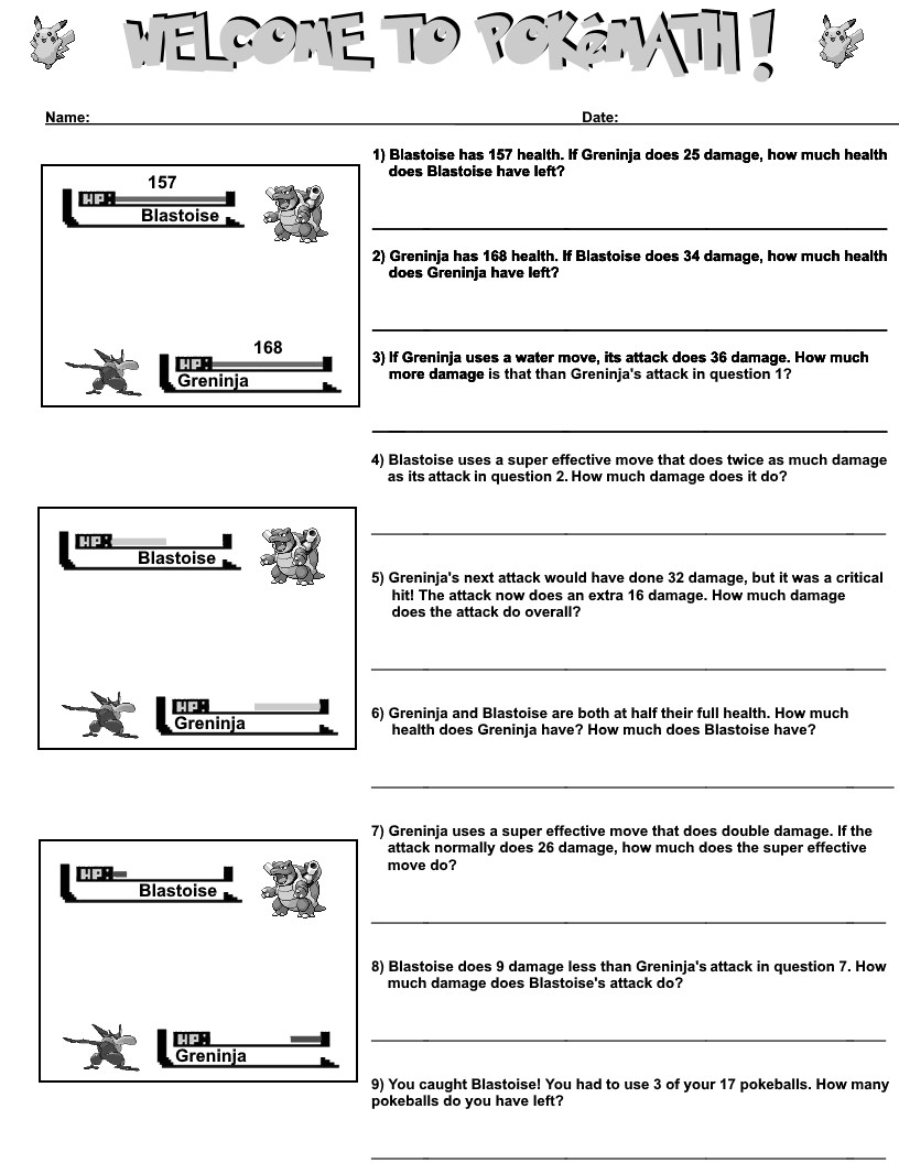 Pokemon Math Worksheets I M Homebrewing A Math Worksheet that Uses Pokemon to Engage
