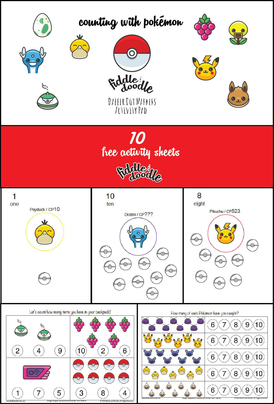 Pokemon Math Worksheets Printable Free Activity Sheets for Dabber Dot Markers Counting with