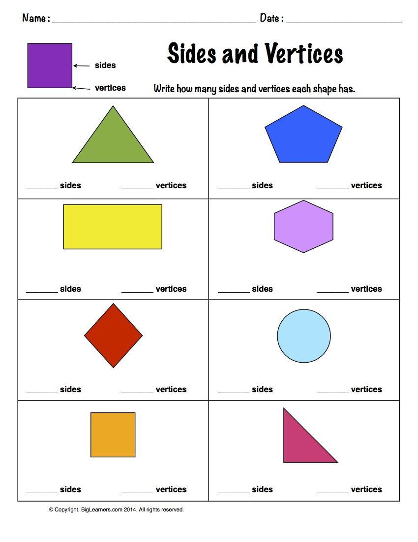 Polygon Worksheets 5th Grade Worksheet Sides and Vertices