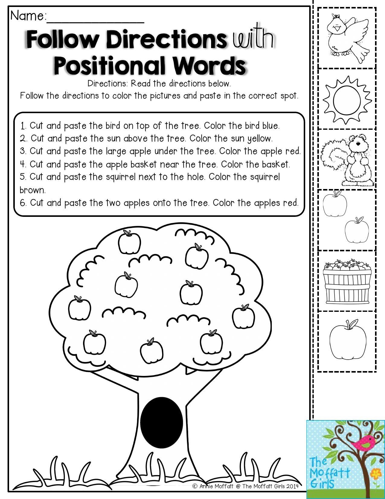 Positional Words Preschool Worksheets Back to School Packets