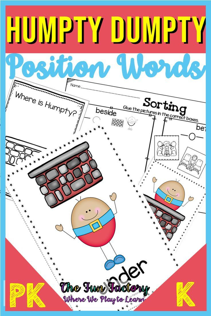 Positional Words Preschool Worksheets Positional Words Activities with Humpty Dumpty