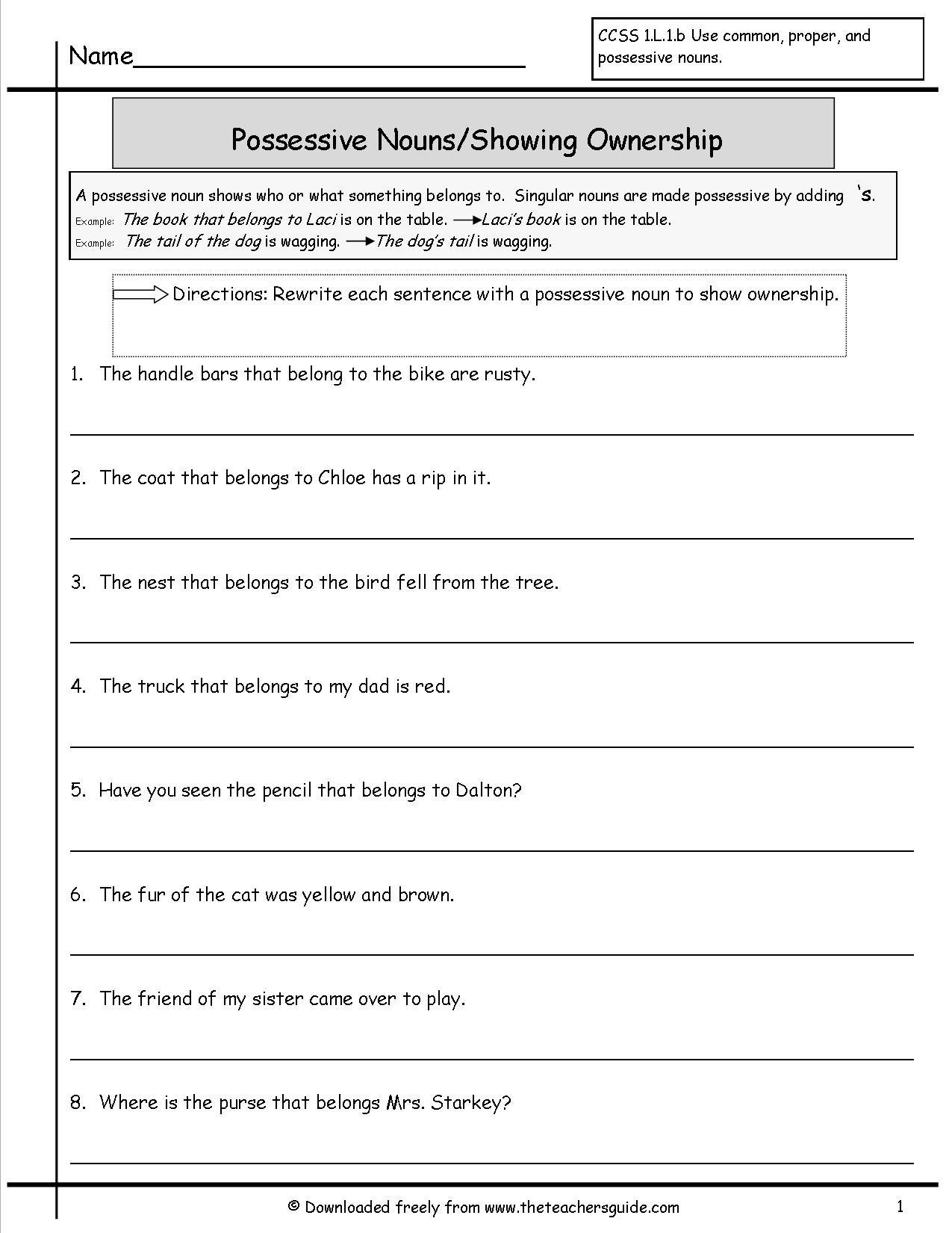 Possessive Pronoun Worksheet 3rd Grade Possessive Pronouns Worksheets 4th Grade