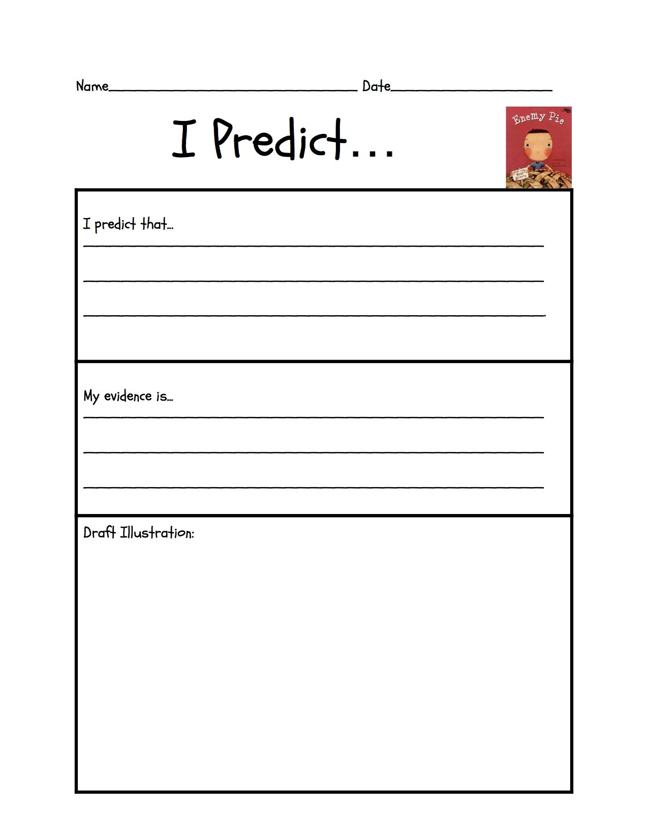 "Predictions Worksheets 1st Grade Predicting ""enemy Pie"""