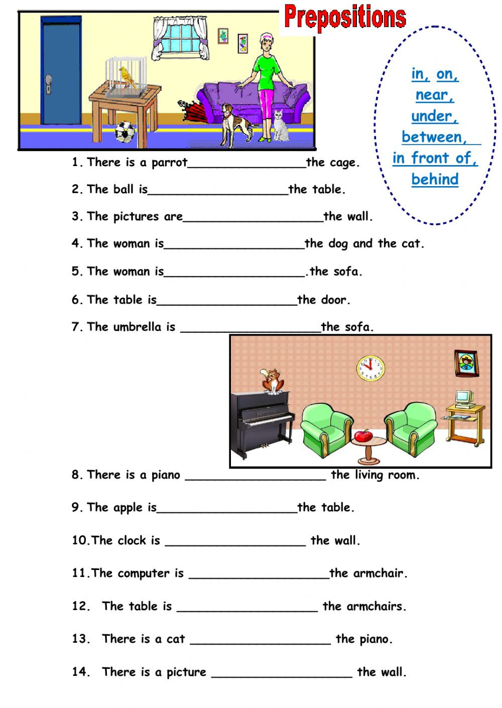Preposition Worksheets for Grade 1 Prepositions Of Place Online Worksheet and Pdf